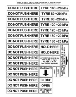 FOGLIO ADESIVI do not push here, drain valve, close open